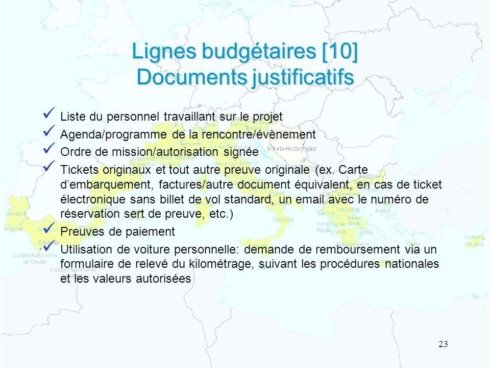 Lignes budgétaires [10] Documents justificatifs